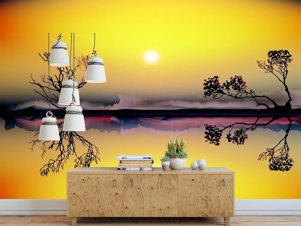 唯美手绘黄色斜阳小树倒影