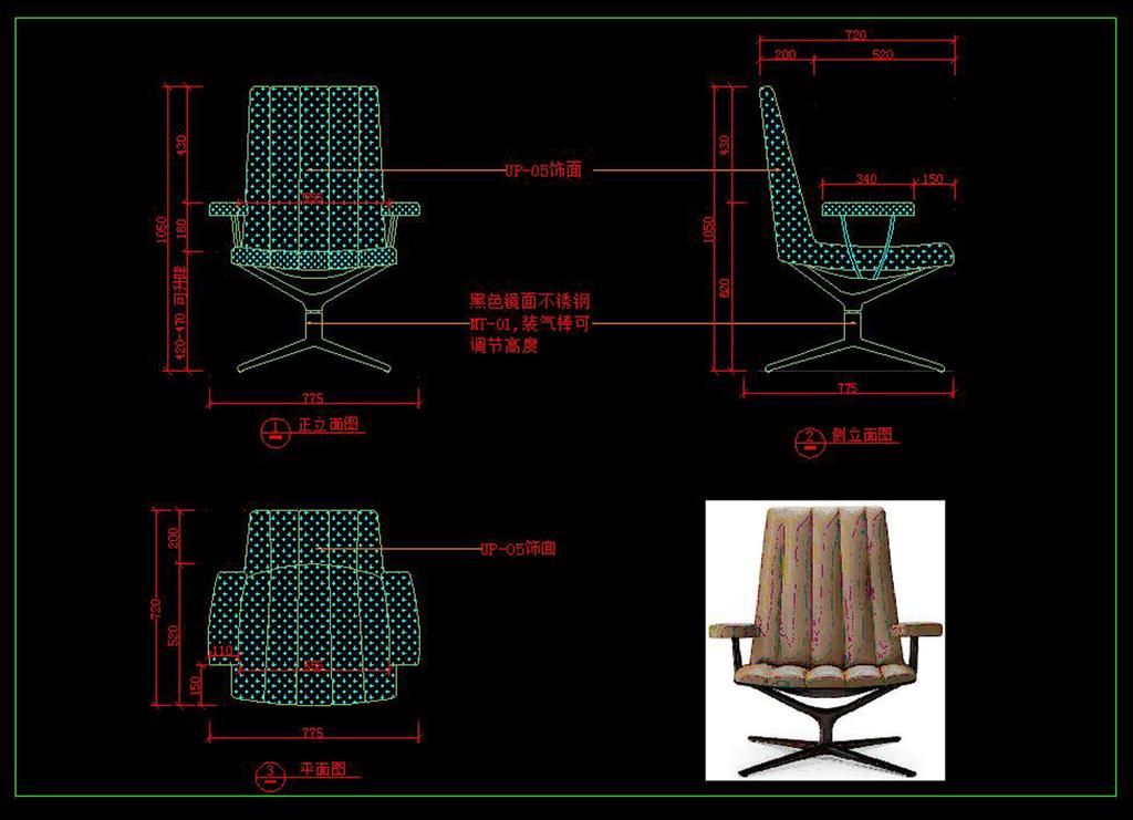 cad深化图椅子32家具设计图纸