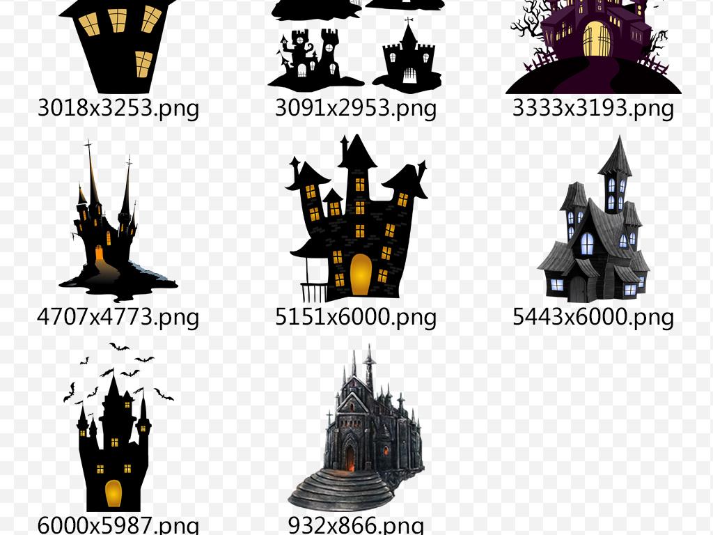 万圣节恐怖鬼屋建筑海报背景素材图片下载png素材
