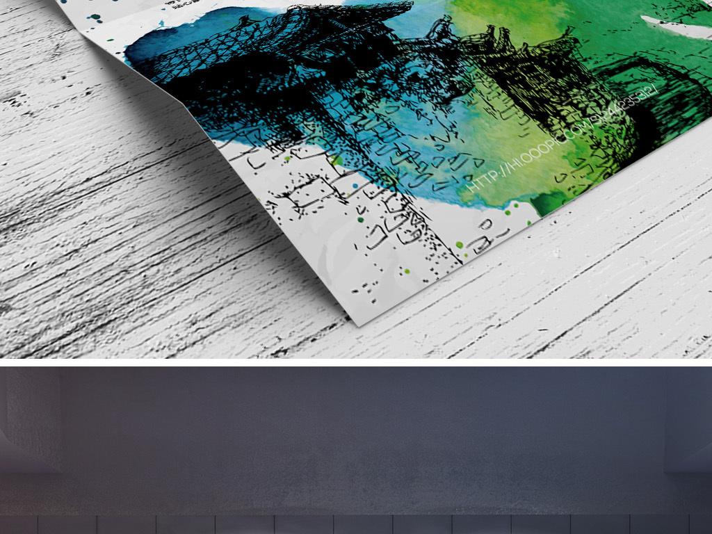 水彩手绘矢量素描班培训招生宣传海报