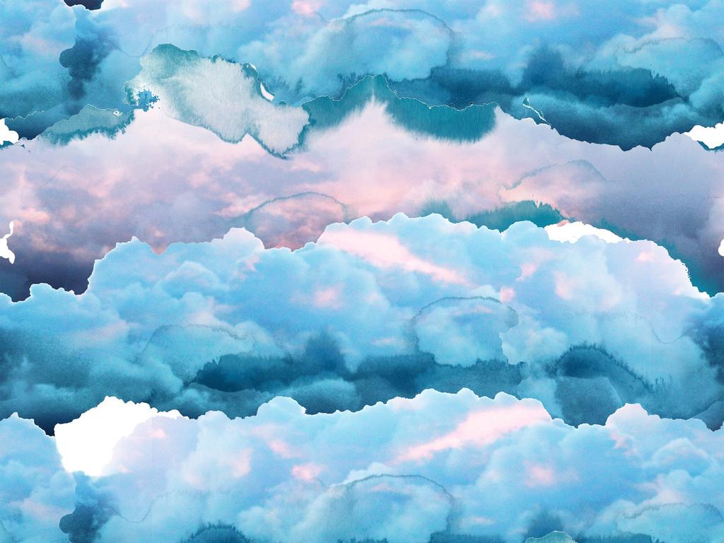 手绘水彩云层图案