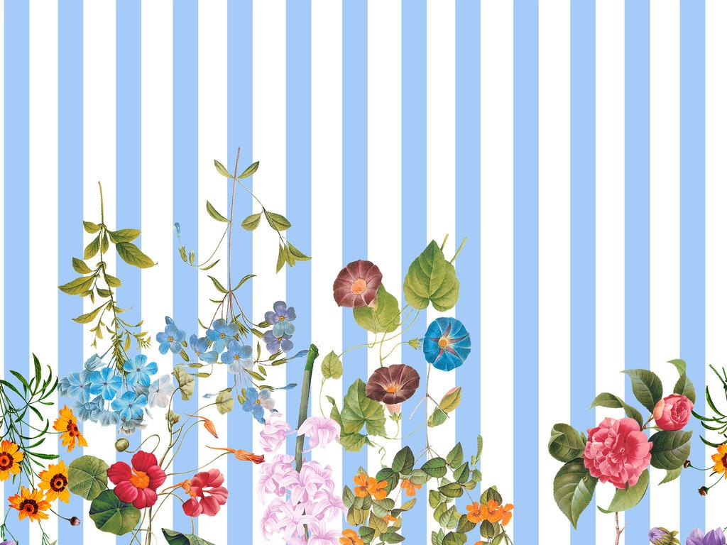 四方连续底纹边框背景底纹手绘植物条纹