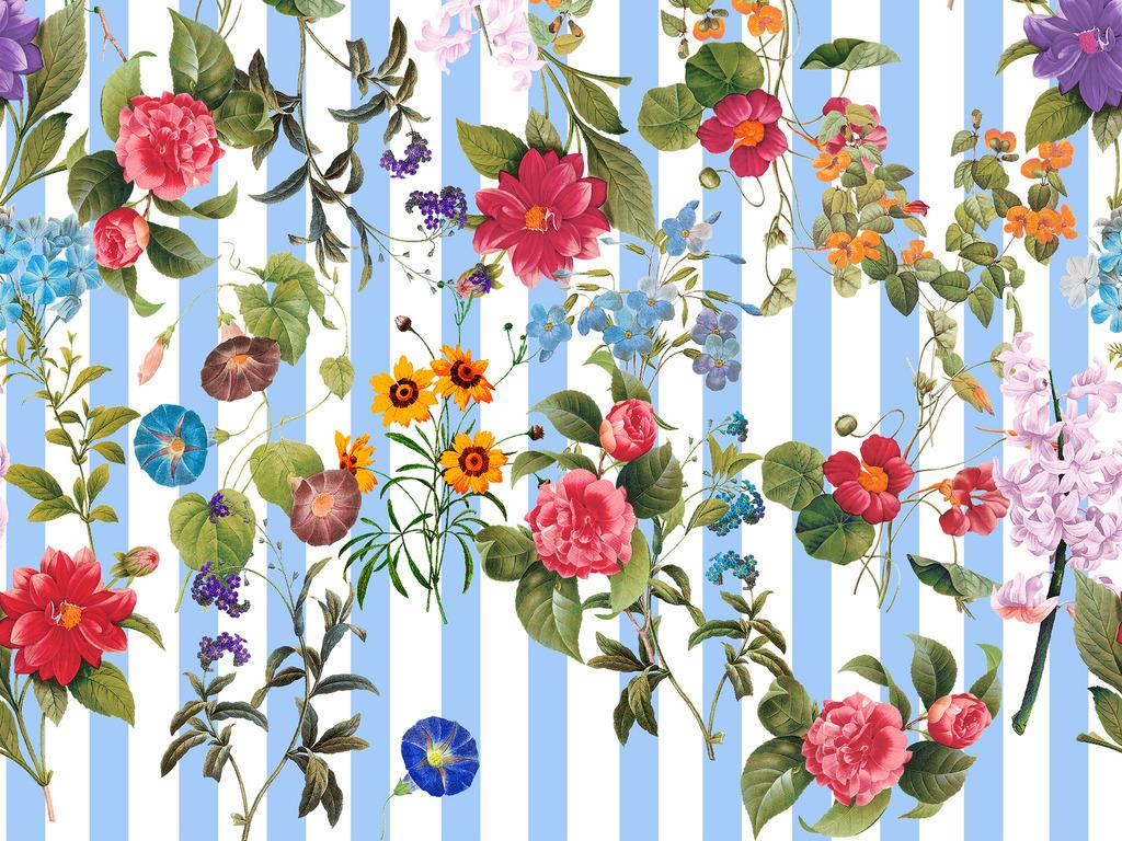 清新水彩手绘条纹植物图案