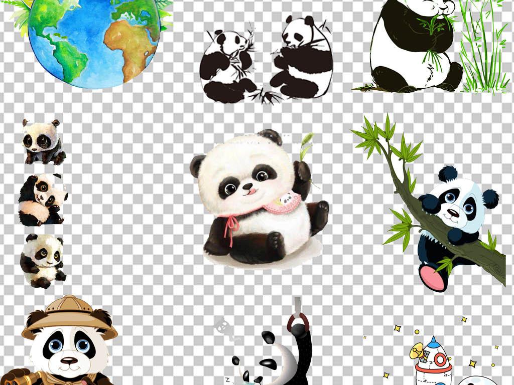 熊猫背景熊猫元素手绘熊猫可爱熊猫q版熊猫熊猫头熊猫抱竹