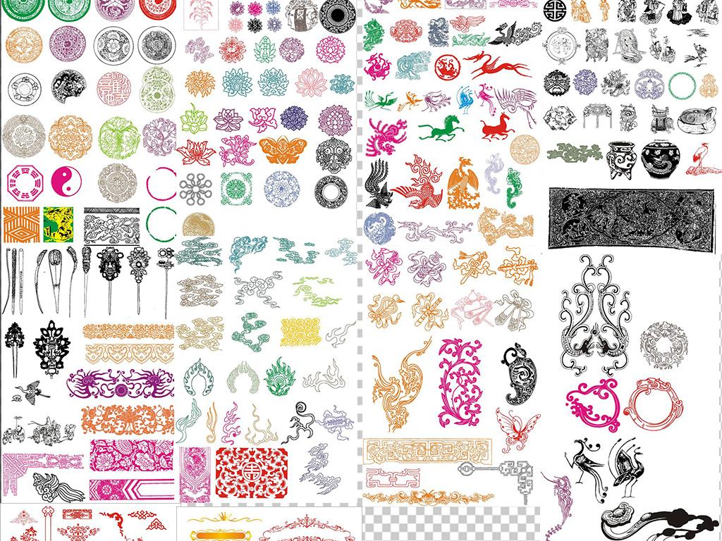 中国传统花纹图案古典元素矢量素材