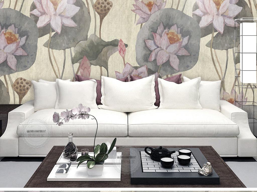新中式荷花荷叶手绘沙发背景墙