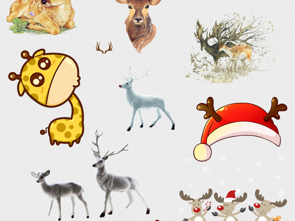 卡通手绘剪影动物麋鹿梅花鹿png设计素材