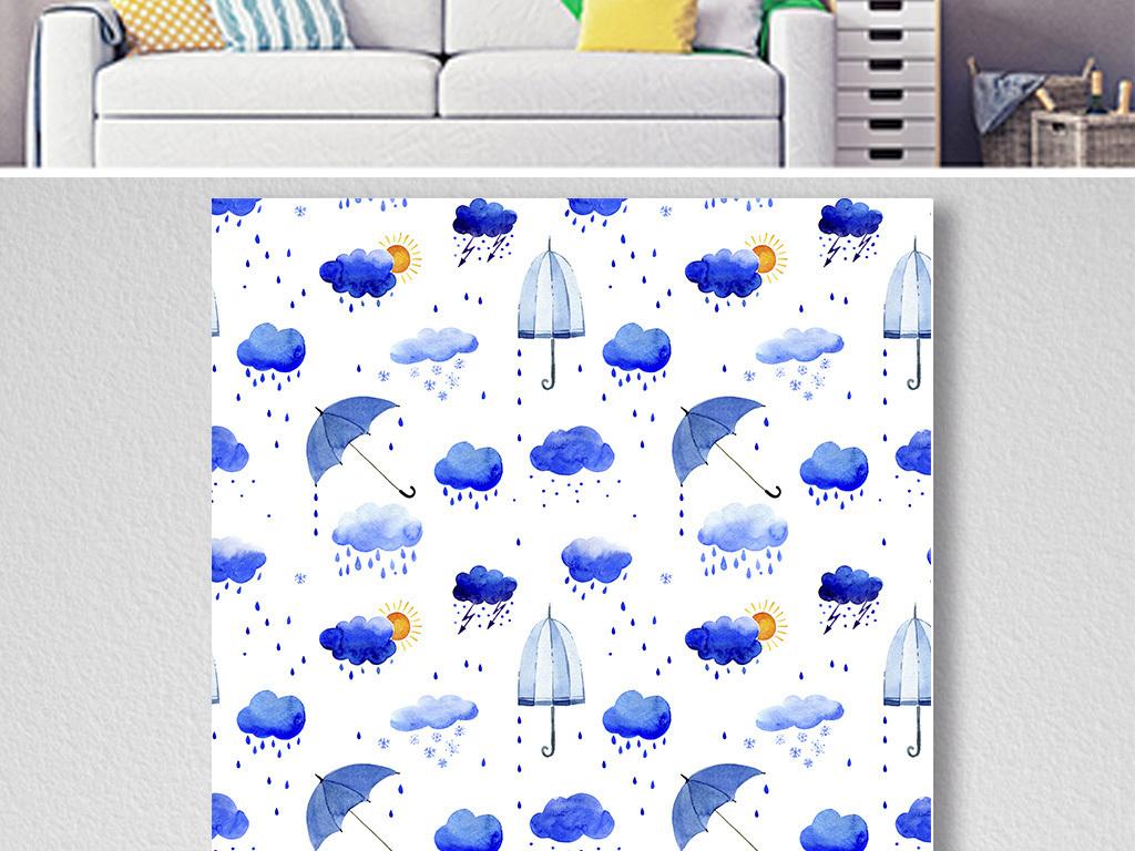 现代简约北欧伞小云朵雨点儿三联画装饰画