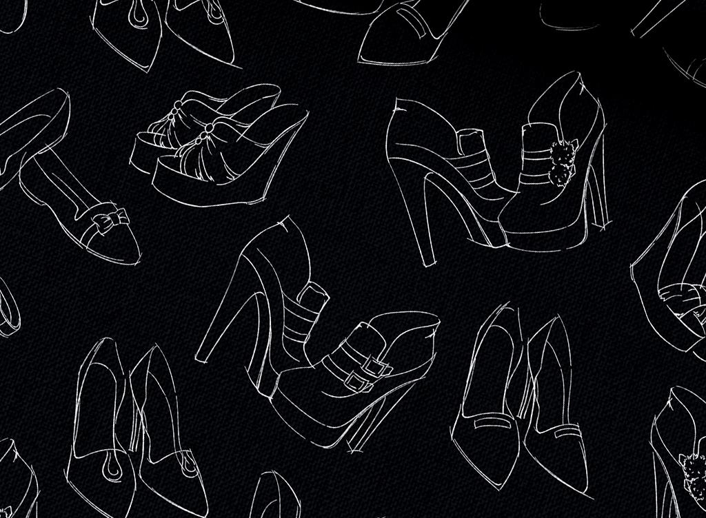 手绘女士高跟鞋背景图案