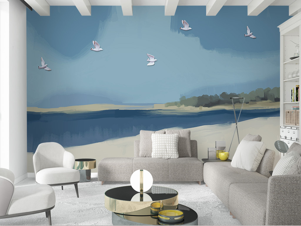 北欧风手绘碧海蓝天浮雕白鸥背景墙