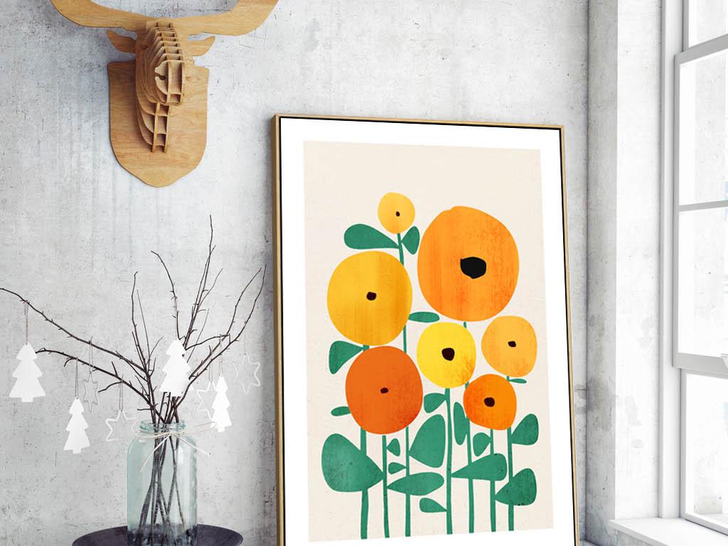 北欧现代创意金色向日葵花束儿童房装饰画图片