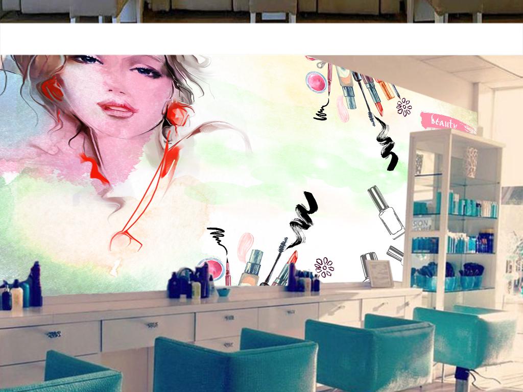 时尚美妆手绘美女美容院美甲店spa背景墙