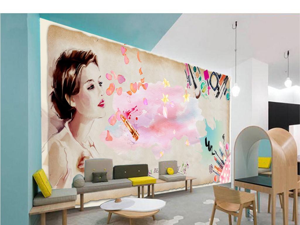 唯美水彩手绘美女美妆美容院美甲店spa背景墙