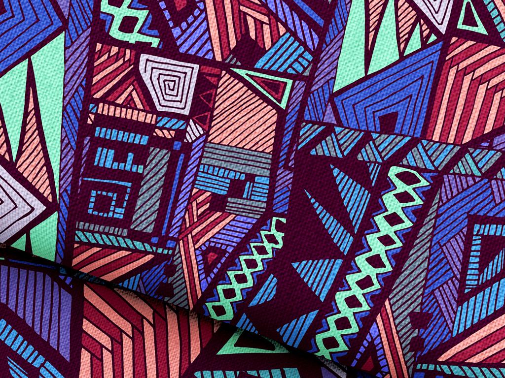 抽象几何民族元素抱枕图案图片