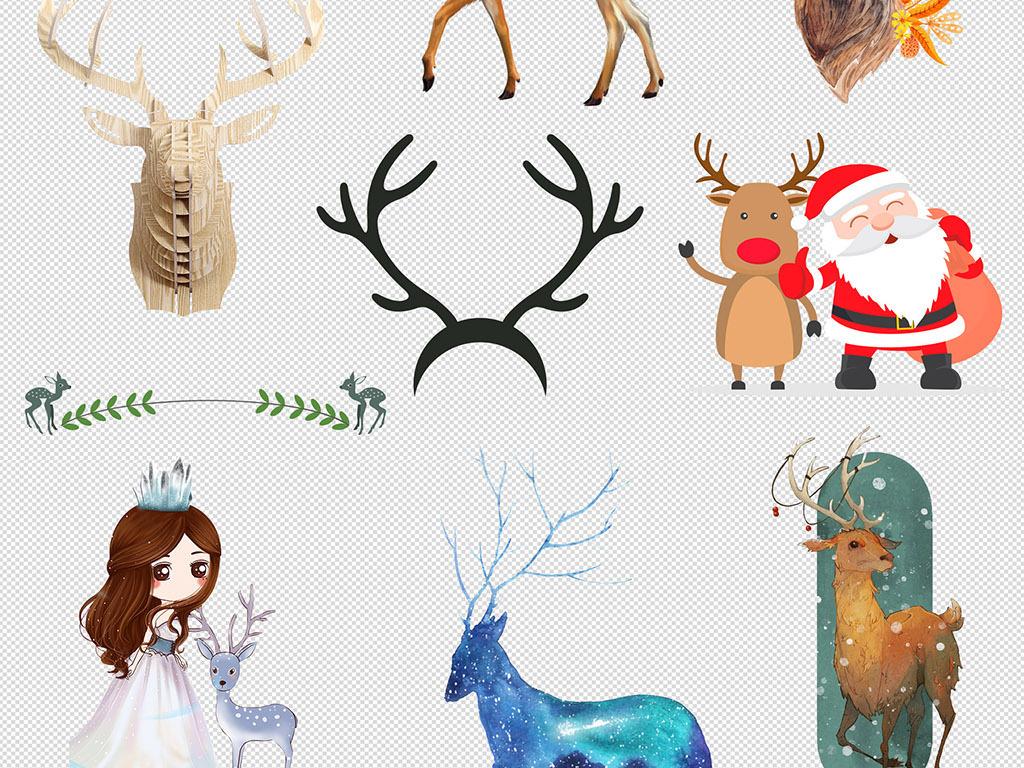 素材动物手绘手绘动物卡通插画动物素描水彩三鹿小鹿中国水彩水彩墨迹