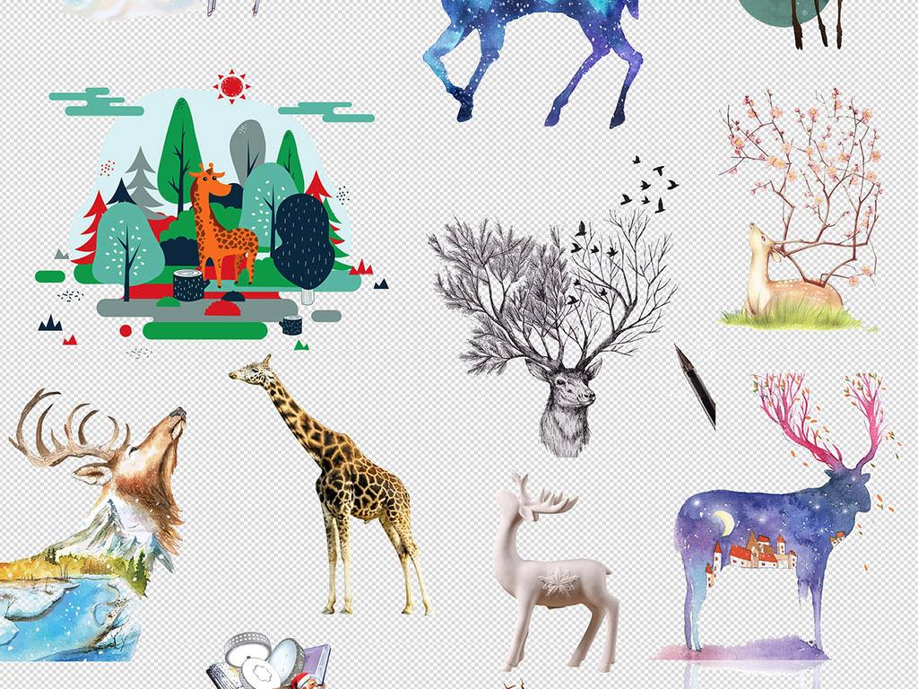 素描手绘插画卡通鹿动物插画png素材(图片编号:)_动物