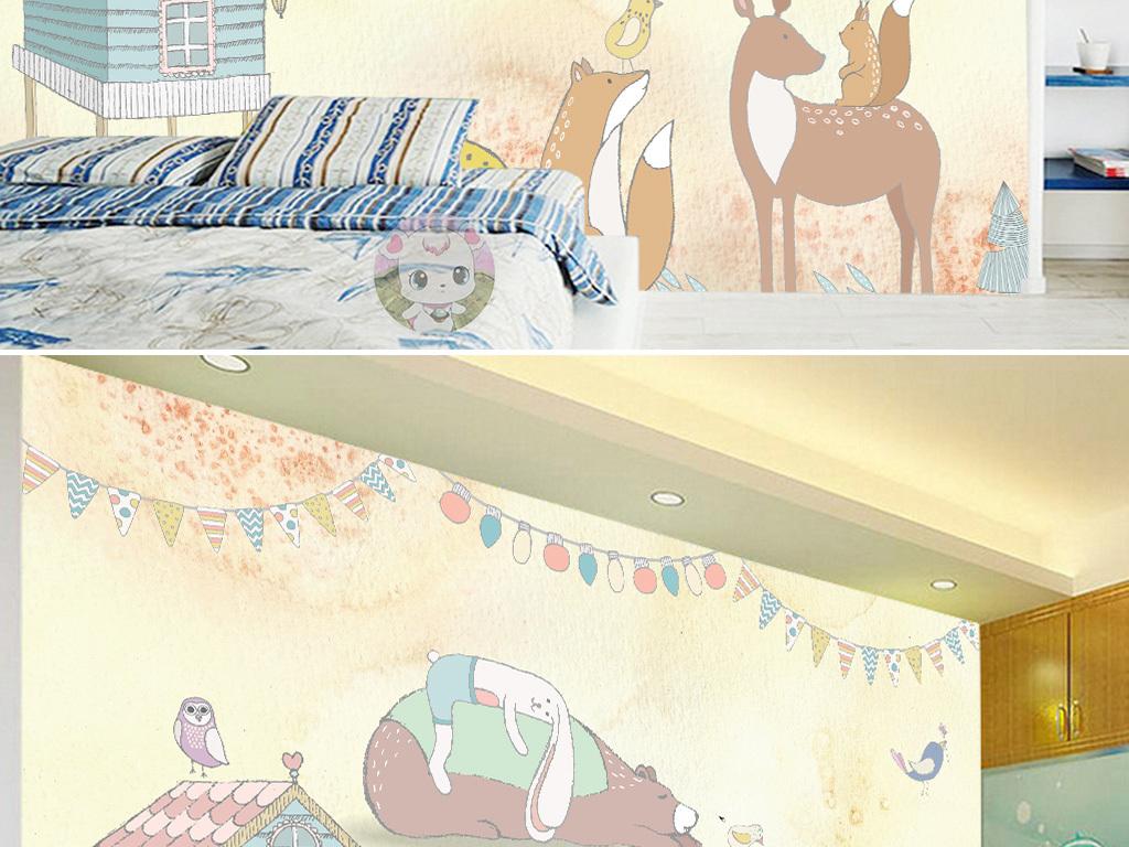 卡通手绘小熊儿童房背景墙图片设计素材_高清模板下载