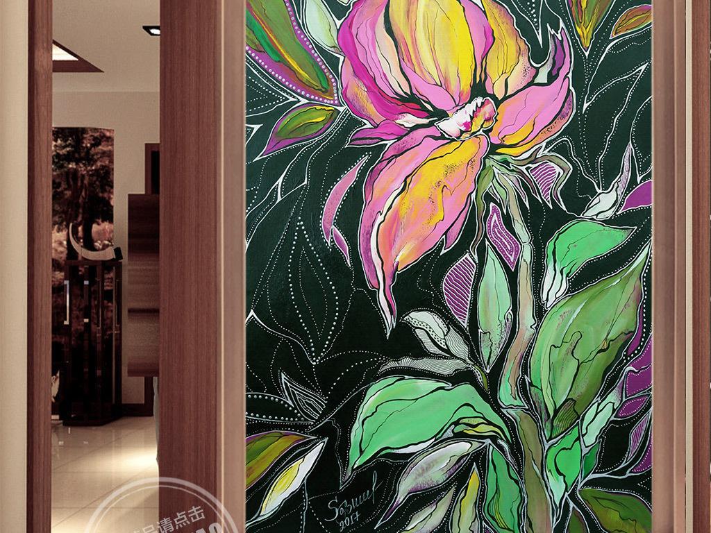 欧式手绘抽象花卉玄关壁画图片设计素材_高清模板下载