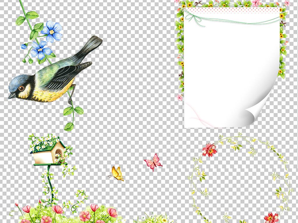 花藤花朵藤蔓树藤花环边框装饰元素