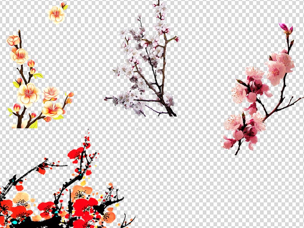 樱花手绘花粉色花桃花粉色桃花树枝绿叶树枝桃花林桃花图片树枝桃花