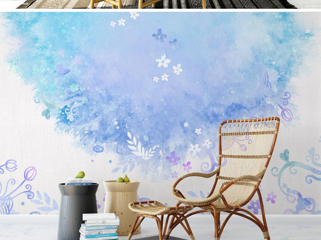 背景墙|装饰画 电视背景墙 手绘电视背景墙 > 梦幻北欧花卉背景墙简约