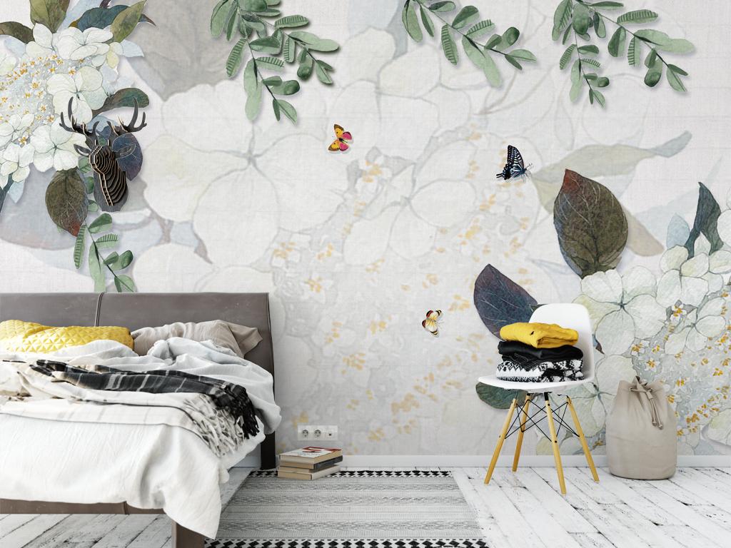 背景墙|装饰画 电视背景墙 手绘电视背景墙 > 北欧清新树叶叶子蝴蝶