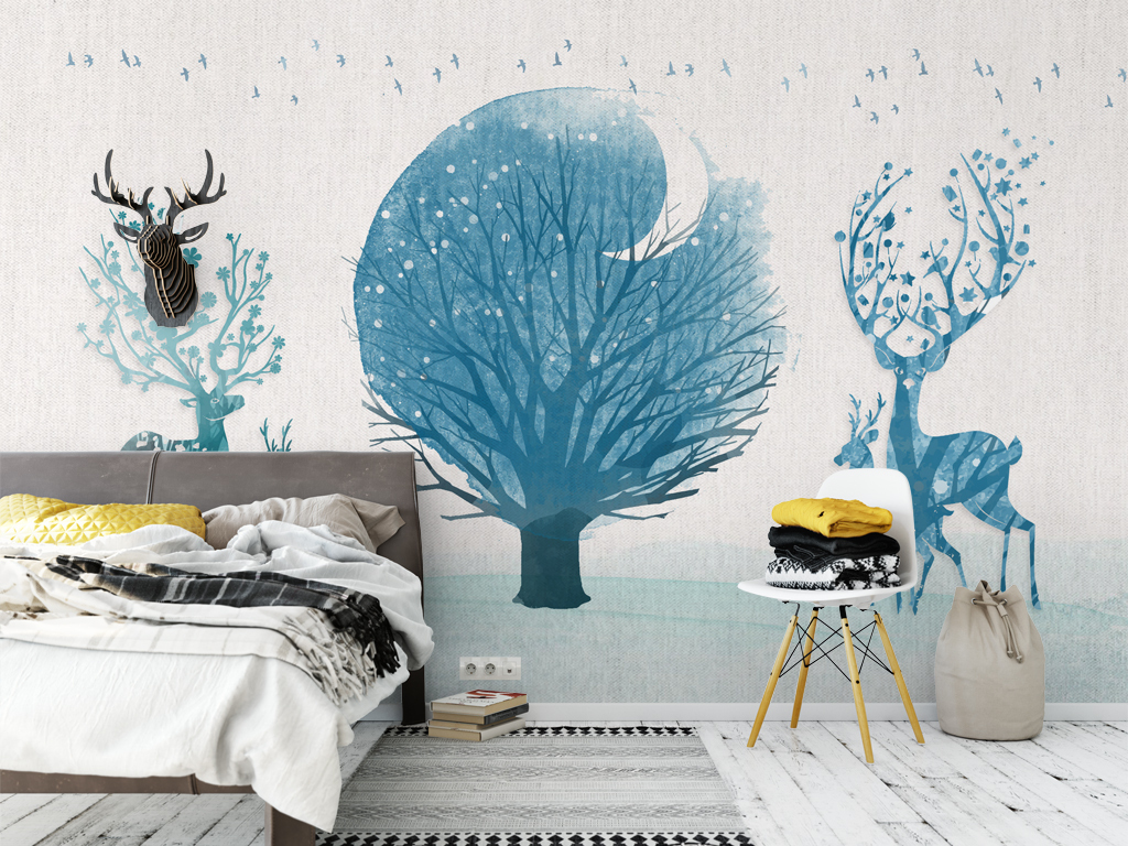 背景墙|装饰画 电视背景墙 手绘电视背景墙 > 北欧麋鹿蓝色森林简约沙