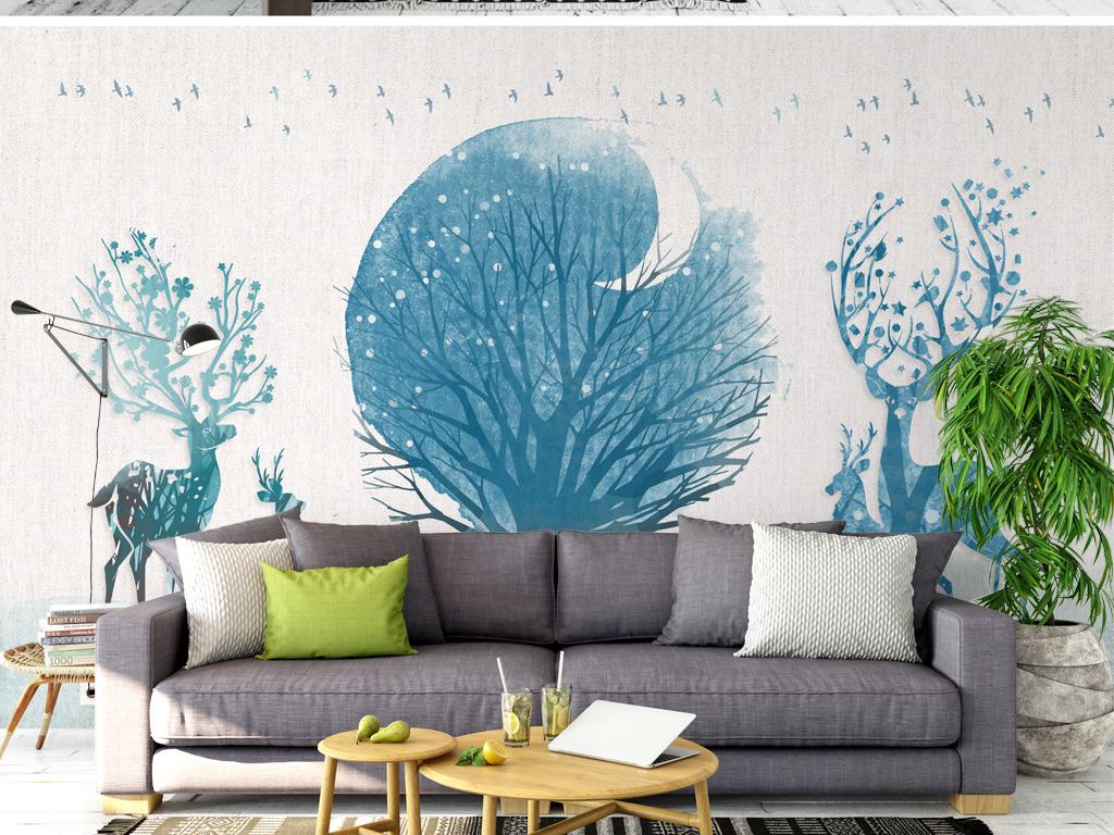 北欧麋鹿蓝色森林简约沙发背景墙