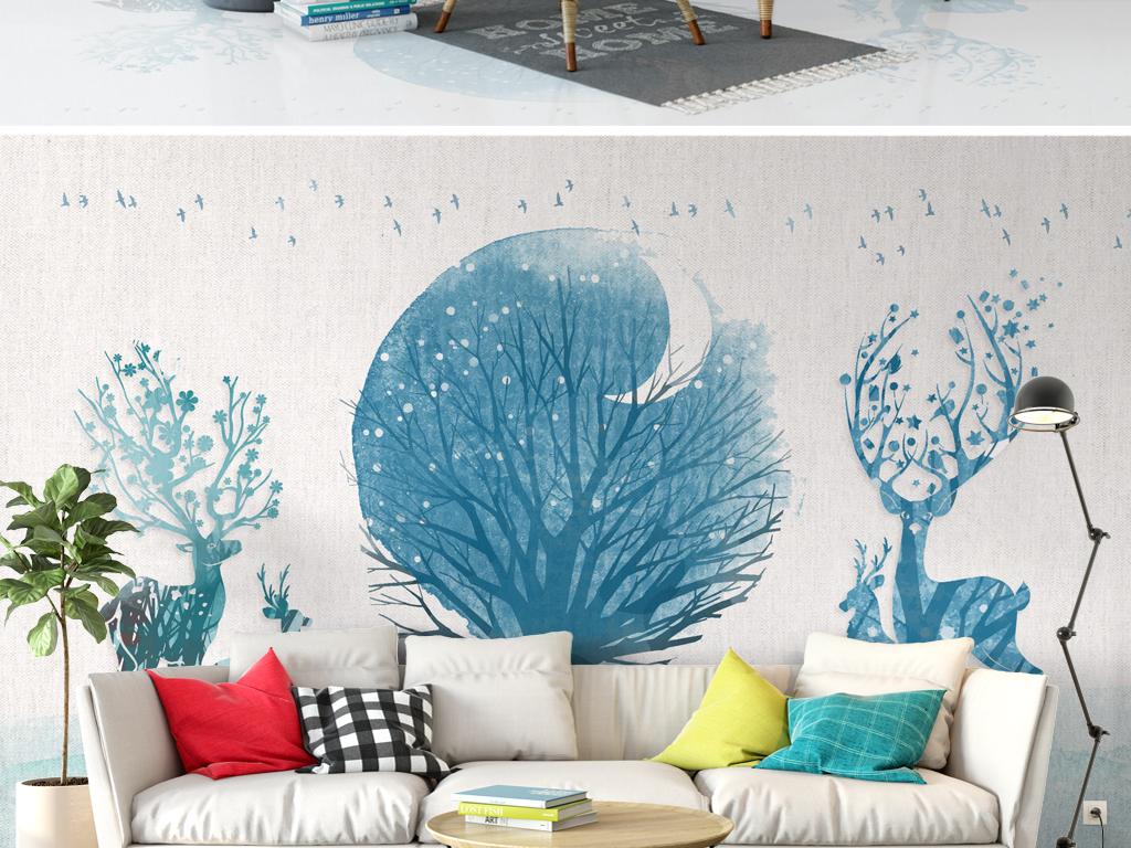 背景墙|装饰画 电视背景墙 手绘电视背景墙 > 北欧麋鹿蓝色森林简约