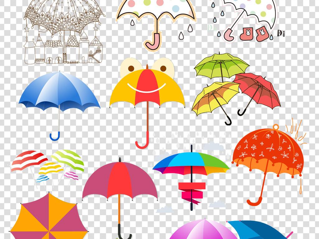 卡通雨伞插画png海报素材图片