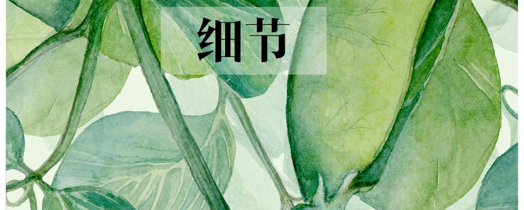 北欧简约绿色树叶抽象飞鸟麋鹿手绘装饰画