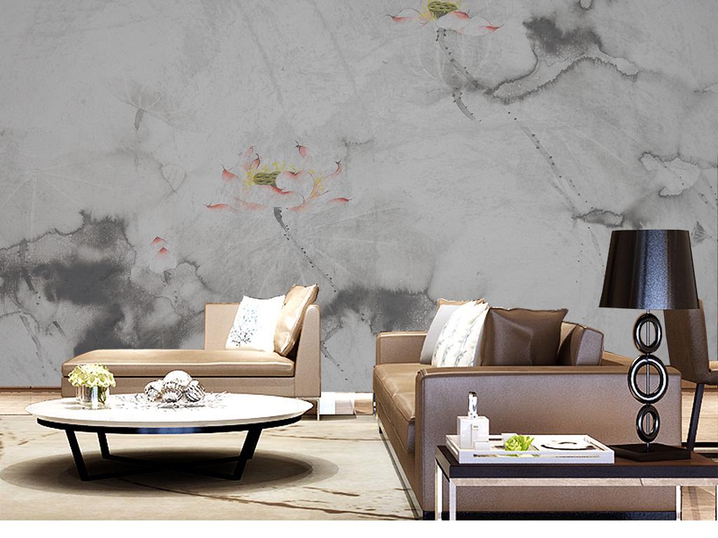 新中式水墨江南手绘荷花山水背景墙壁画