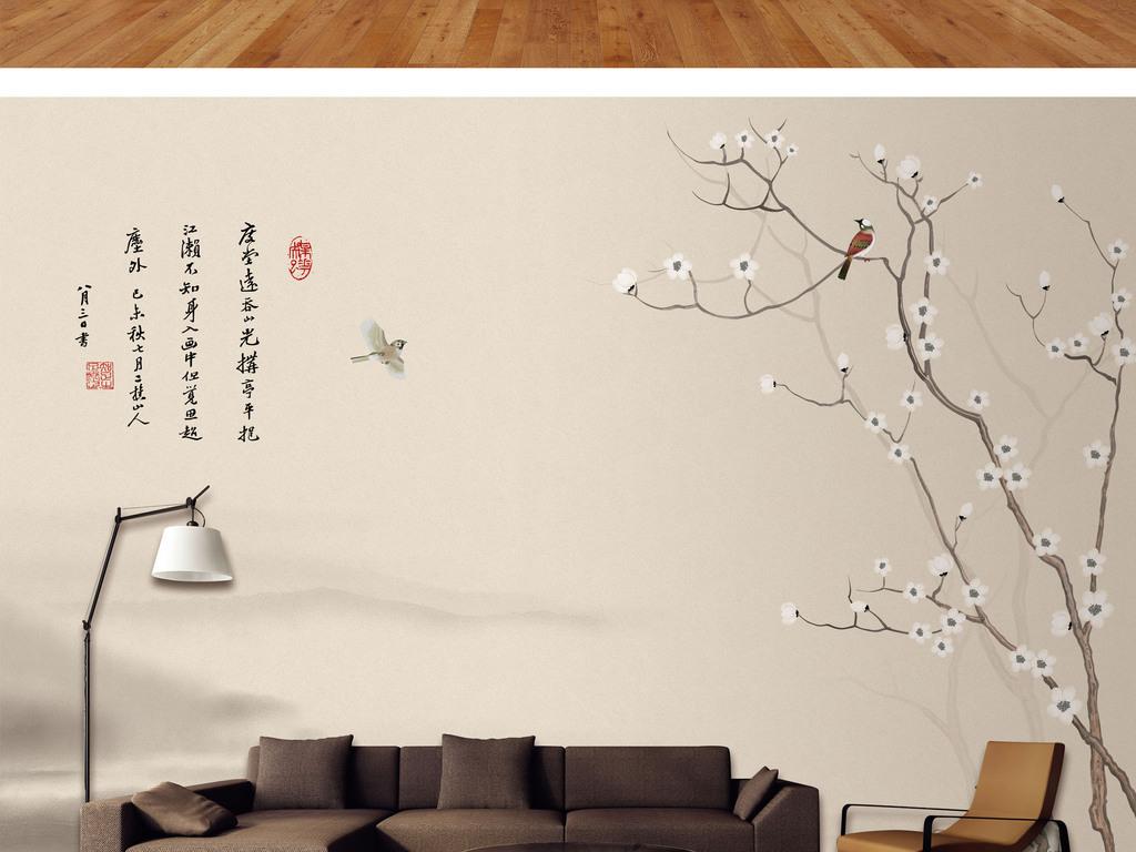 新中式手绘花鸟山水背景墙