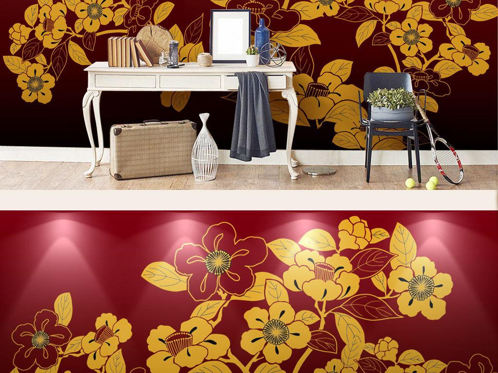 新中式手绘重彩红底镀金花鸟画背景墙装饰画