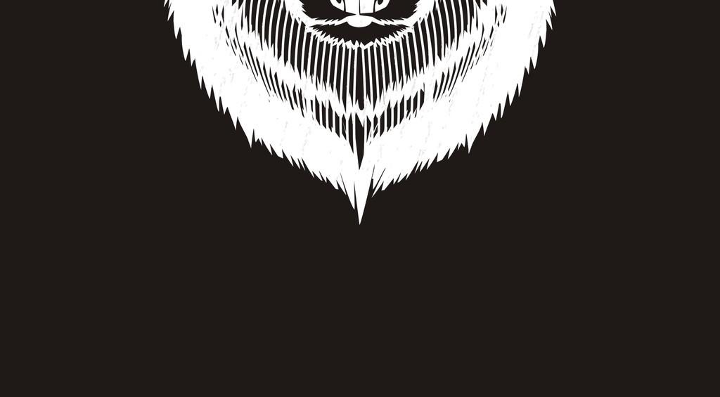 卡通动物狼黑白剪影头像