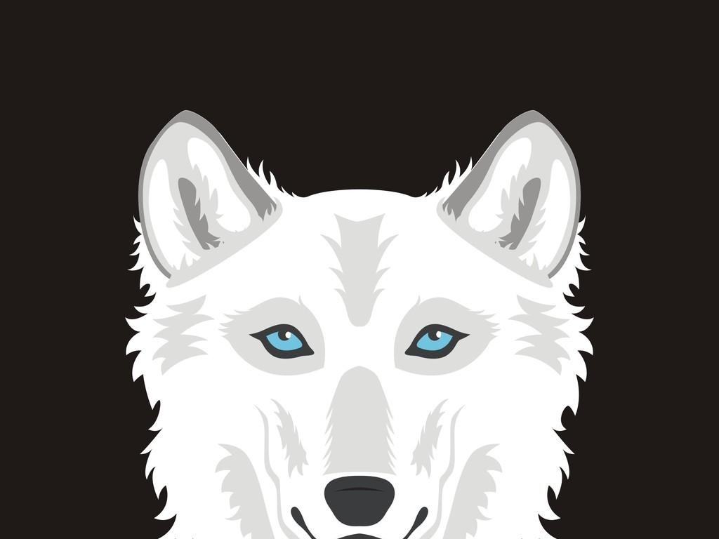 黑白剪影卡通动物狼头像
