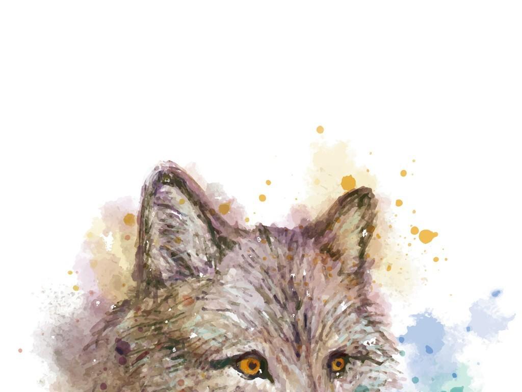 手绘水彩动物狼头像