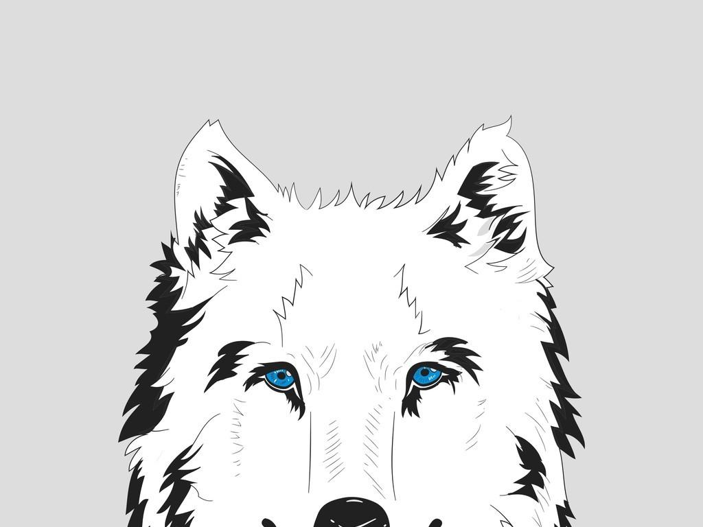 手绘动物狼黑白剪影头像(图片编号:16615032)_动物_我