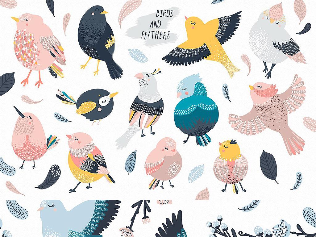 设计元素 自然素材 动物 > eps png唯美手绘花鸟海报请柬邀请函卡片设