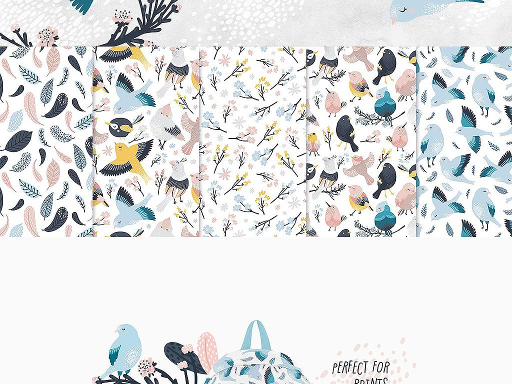 eps png唯美手绘花鸟海报请柬邀请函卡片设计素材包