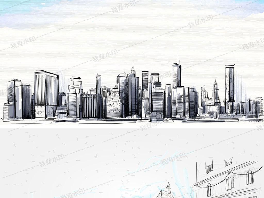 矢量手绘素描线描城市建筑背景