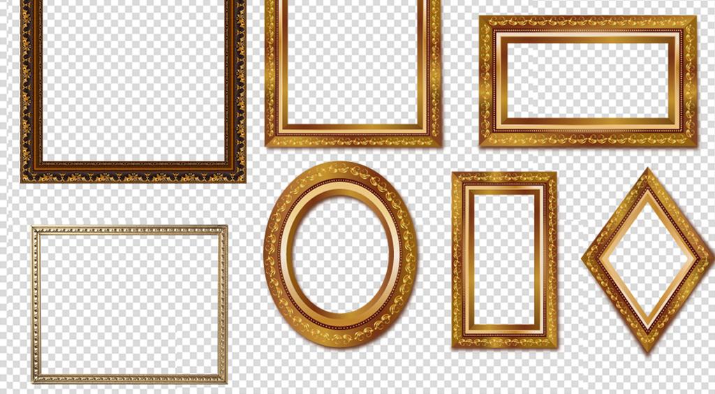 75款金色高贵欧式古典实木边框相框素材