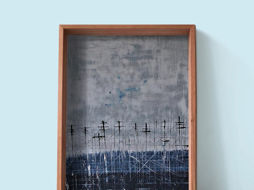 蓝色森林树林电线杆风景绘画装饰画图片