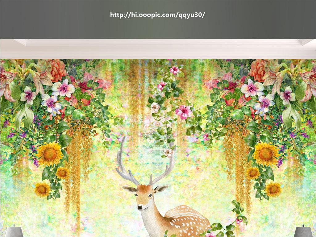 背景墙|装饰画 电视背景墙 手绘电视背景墙 > 北欧手绘植物梅花鹿背景