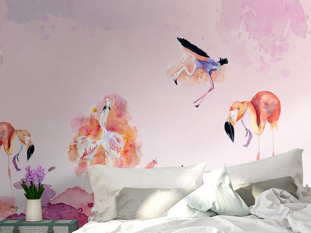 北欧简约手绘抽象火烈鸟背景墙