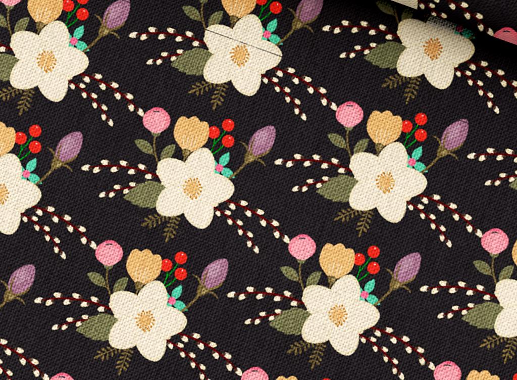 家纺家饰图案 植物花卉图案 > 手绘花草床品四件套印花图案矢量  素材