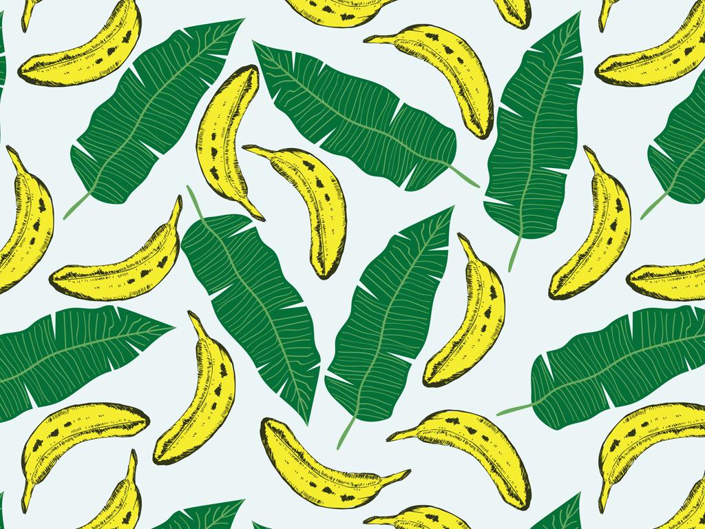 水果印花图案2017女装印花数码印花香蕉叶图案韩系服装清新芭蕉叶
