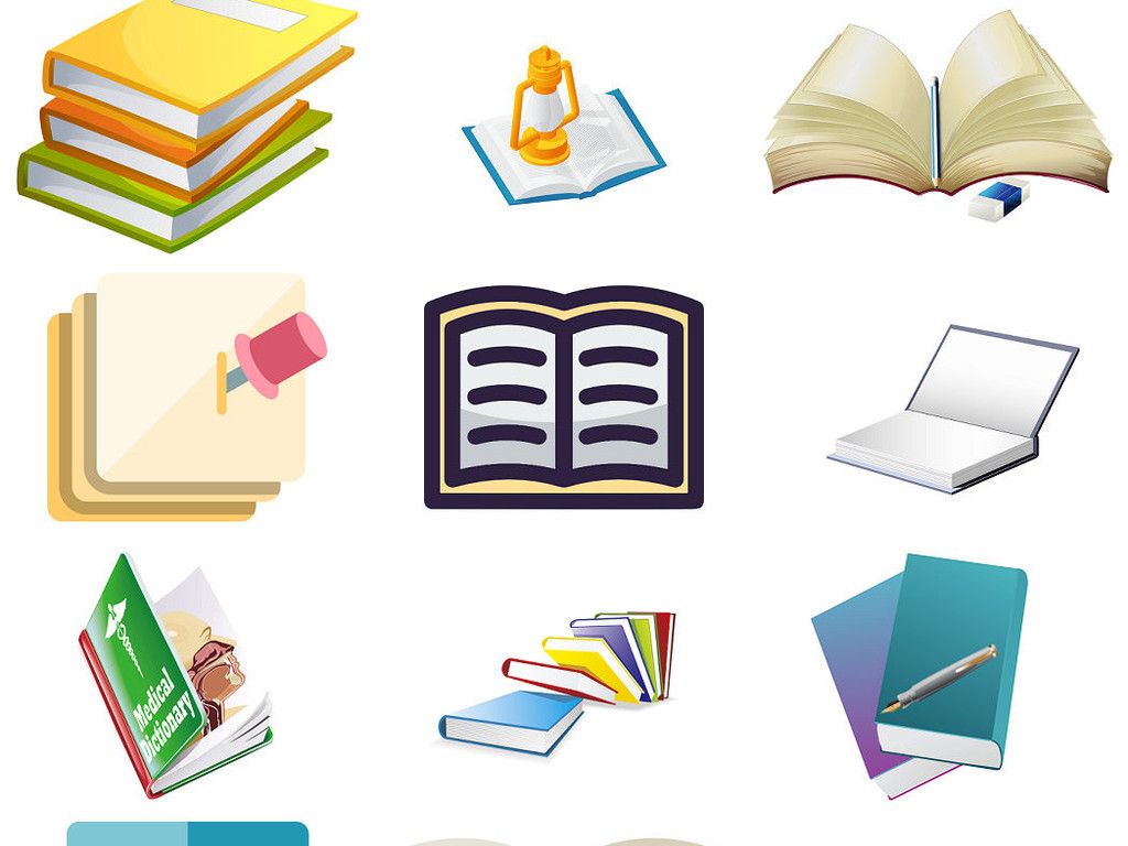 彩色卡通书本卡通笔记本书籍书本png1图片下载png素材