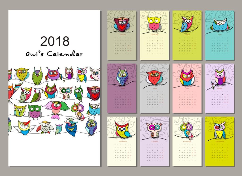 2018日历图案模板鸟类模板