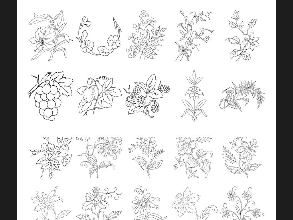 鲜花植物鲜花素描黑白手稿手绘鲜花植物